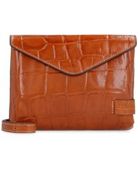 STAUD Holly Convertible Leather Clutch - Brown