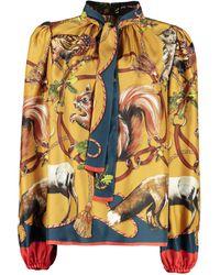 Dolce & Gabbana Blusa in seta stampata - Giallo