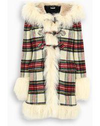 Miu Miu Single-breasted Plaid Coat - Multicolour