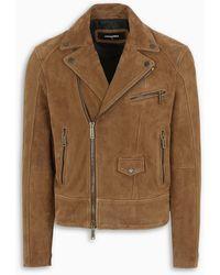 DSquared² Pocket Detail Suede Biker Jacket - Brown