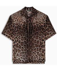 Dolce & Gabbana Leopard Print Bowling Shirt - Brown