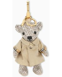 Burberry Beige Thomas Bear Keychain With Trench - Natural
