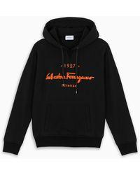 Ferragamo - Black Logo-embroidery Hoodie - Lyst