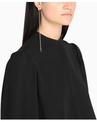 Saint Laurent Gold Tone Opyum Monogram Earrings - Metallic
