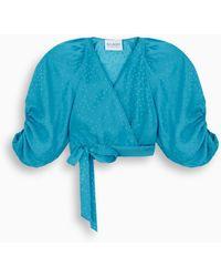 Art Dealer Turquoise Pois Silk Blouse - Blue