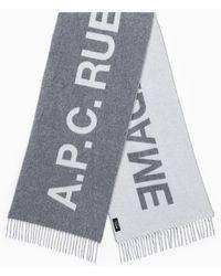 A.P.C. Écharpe En Laine E Avec Logo - Grey
