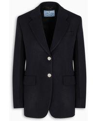 Prada Jacket In Blue Gabardine