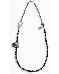 Alexander McQueen Snake Skull Beaded Necklace - Black