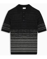 Saint Laurent Metallic Effect Striped Polo - Black