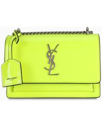 Saint Laurent - Yellow Patent Leather Small Sunset Bag - Lyst
