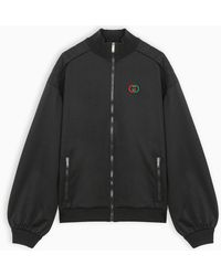 Gucci Technical Jersey Jacket With Elbow Pads - Black