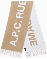 A.P.C. Écharpe Beige En Laine Avec Logo - Brown
