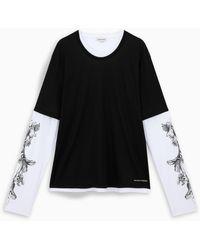 Alexander McQueen T-shirt À Manches Longues Contrastées - Black