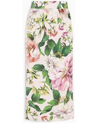 Dolce & Gabbana Floral Print Pencil Skirt - Green