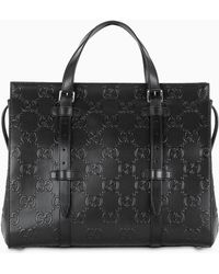 Gucci - All Over GG Motif Leather Tote - Lyst