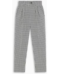 Miu Miu Check Print High-waisted Pants - Black