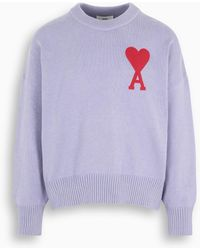 AMI Lilac Ami De Coeur Oversize Sweater - Purple