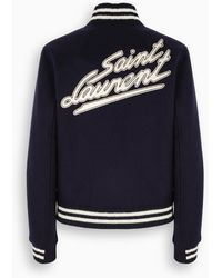 Saint Laurent Ink Blue Varsity Jacket