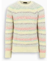 Roberto Collina White And Multicolor Crewneck Sweater