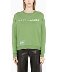 Marc Jacobs Felpa verde con scritta logo a contrasto