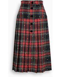 Miu Miu Tartan Midi Skirt - Black