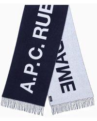 A.P.C. Écharpe Marine En Laine Avec Logo - Blue