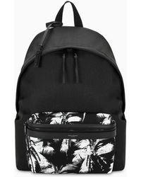 Saint Laurent Printed Canvas Backpack - Black