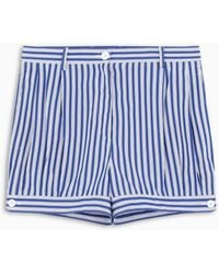 Prada White And Blue Striped Shorts