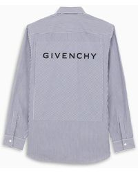 Givenchy Striped Shirt With Logo Patch - Blue