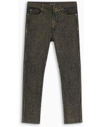 Saint Laurent Black And Gold Striped Jeans