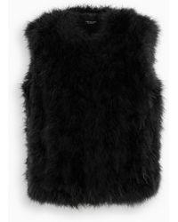 Yves Salomon Black Feathers Fur Vest