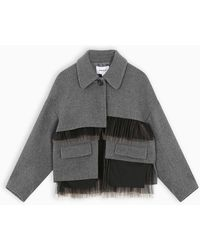 Enfold Grey Coat With Tulle Details - Gray