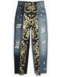 Dolce & Gabbana Jeans a vita alta in denim e jacquard - Blu
