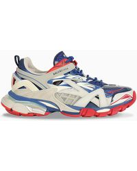 Balenciaga Track 2.0 Leather And Mesh Sneakers - Blue
