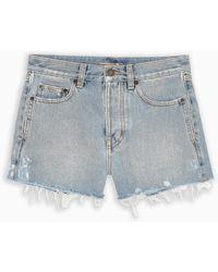 Saint Laurent Denim Shorts With Fringes - Blue