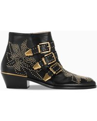 Chloé Black And Gold Susanna Ankle Boots