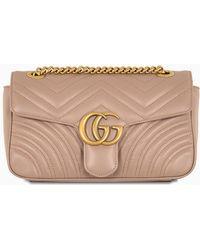 Gucci Borsa a spalla GG Marmont piccola rosa cipria