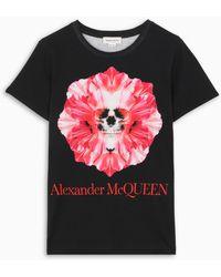 Alexander McQueen Flower Skull T-shirt - Black