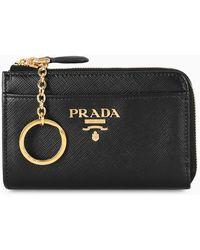 Prada Key Holder With Pocket - Black