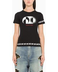 Marine Serre - T-shirt nera con stampa a contrasto - Lyst