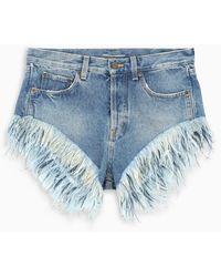 Saint Laurent Feathers Denim Shorts - Blue
