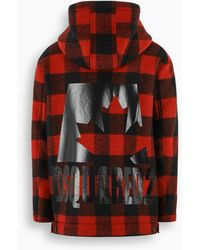 DSquared² Black And Red Parka With Check Motif