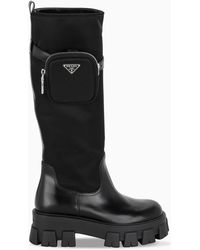 Prada Black Leather And Nylon Military Boots