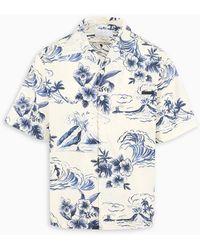 Prada Camicia stampa hawaiana - Blu