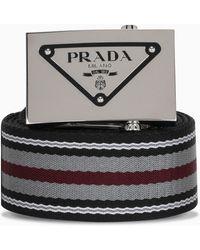 Prada Cintura multicolore con fibbia logata - Nero