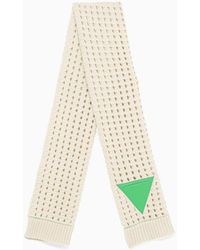 Bottega Veneta Triangle-patch Open-knit Wool Scarf - Natural
