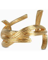 Saint Laurent Gold Monogram Ring - Metallic