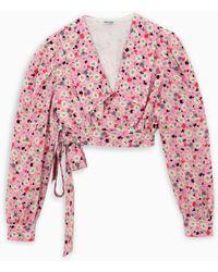 Miu Miu Floral Print Silk Blouse - Pink