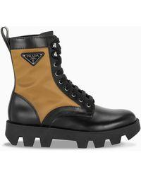Prada Black And Khaki Combat Boots