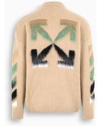 Off-White c/o Virgil Abloh - TM Maglione lavorato beige con logo Arrows multicolore - Lyst